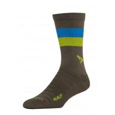 Drymax Hyper Thin Running Crew Walmsley Socks - Gray/Green/Blue Stripe