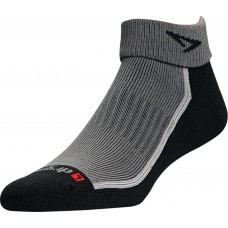 Drymax Trail Running 1/4 Crew High Turn Down Socks, Grey/Black
