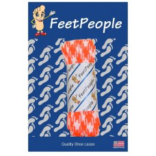 FeetPeople Glow Flat Laces, Neon Orange Argyle