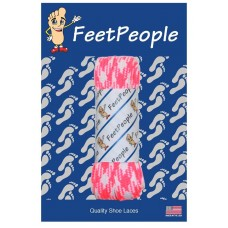 FeetPeople Glow Flat Laces, Neon Pink Argyle