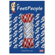 FeetPeople Glow Flat Laces, Red Argyle