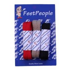 FeetPeople Flat Lace Bundle, 3 Pr, Buccaneers