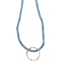FeetPeople Round Lace Key Chain, Carolina Blue With White Chip