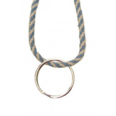FeetPeople Round Lace Key Chain, Carolina Blue And Whie Stripe