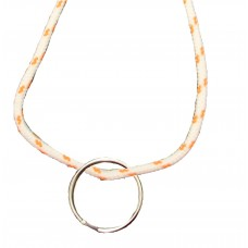 FeetPeople Round Lace Key Chain, White With Burnt Orange Chip