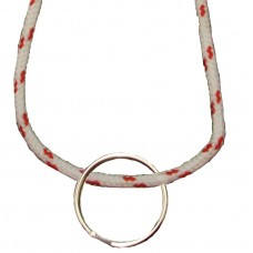 FeetPeople Round Lace Key Chain, White With Red Chip