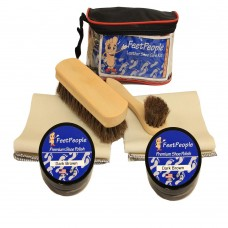 FeetPeople Deluxe Leather Care Kit with Travel Bag, Dark Brown