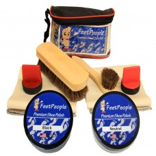 FeetPeople Ultimate Leather Care Kit with Travel Bag, Black & Neutral