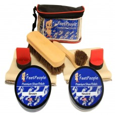 FeetPeople Ultimate Leather Care Kit with Travel Bag, Neutral & Brown