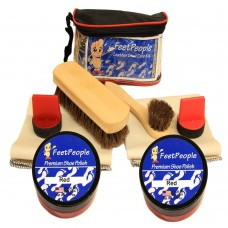 FeetPeople Ultimate Leather Care Kit with Travel Bag, Red