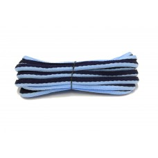 FootGalaxy Oval Laces For Boots And Shoes, Navy and Carolina Blue Stripe