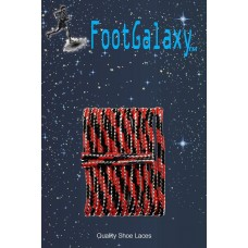 FootGalaxy High Quality Round Laces For Boots And Shoes, Black And Red Metallic