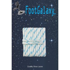 FootGalaxy High Quality Round Laces For Boots And Shoes, White With Carolina Blue Chip
