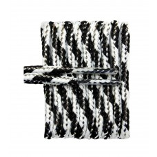 FootGalaxy High Quality Round Laces For Boots And Shoes, Black With White Metallic