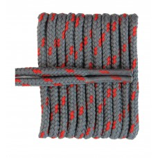 FootGalaxy High Quality Round Laces For Boots And Shoes, Grey With Red Chip