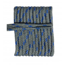 FootGalaxy High Quality Round Laces For Boots And Shoes, Grey With Royal Chip