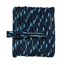 FootGalaxy High Quality Round Laces For Boots And Shoes, Navy With Carolina Blue Chip