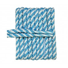 FootGalaxy High Quality Round Laces For Boots And Shoes, Carolina Blue And Whie Stripe