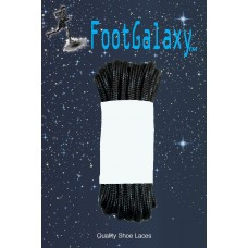 FootGalaxy Strong Round Laces, Black Reinforced w/ Black Kevlar
