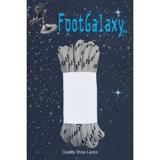 FootGalaxy Strong Round Laces, Gray Reinforced w/ Black Kevlar