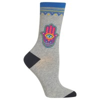 HotSox Womens Hamsa Socks, Sweatshirt Grey Heather, 1 Pair, Womens Shoe 4-10