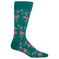 HotSox Mens Santa Flamingos Socks, Forest, 1 Pair, Mens Shoe 6-12.5