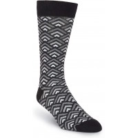 K. Bell Men's Tri Geo Crew Socks, Gray, Mens Sock Size 10-13/Shoe Size 6.5-12, 1 Pair