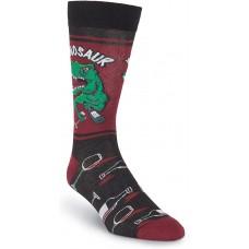 K. Bell Men's Winosaur Crew, Black, Mens Sock Size 10-13/Shoe Size 6.5-12, 1 Pair