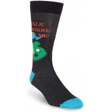 K. Bell Men's Talk Birdie To Me Crew, Black, Mens Sock Size 10-13/Shoe Size 6.5-12, 1 Pair