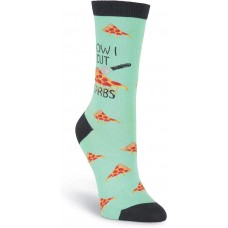 K. Bell How I Cut Carbs Crew, Turquoise, Womens Sock Size 9-11/Shoe Size 4-10, 1 Pair