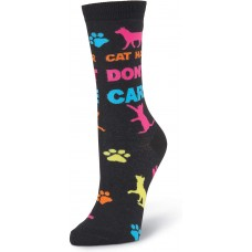 K. Bell Cat Hair Don't Care Crew, Black, Womens Sock Size 9-11/Shoe Size 4-10, 1 Pair