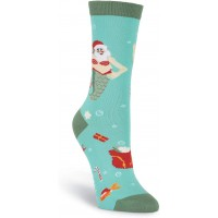 K. Bell Mermaid Santa Crew, Turquoise, Womens Sock Size 9-11/Shoe Size 4-10, 1 Pair