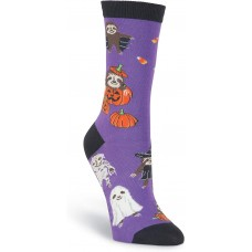 K. Bell Halloween Sloths Crew, Purple, Womens Sock Size 9-11/Shoe Size 4-10, 1 Pair