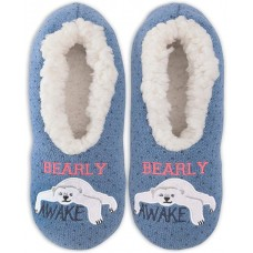 K. Bell Bearly Awake Slippers, Blue, Womens Shoe Size 9-11, 1 Pair