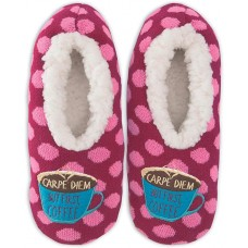 K. Bell But First Coffee Slippers, Pink, Womens Shoe Size 5-8.5, 1 Pair