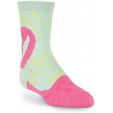K. Bell Flamingo Crew, Blue, Kids Sock Size 7-8.5/Shoe Size 11-4, 1 Pair