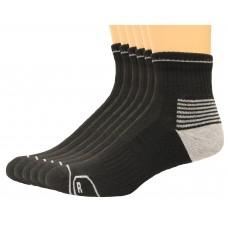 Lee Men's Antimicrobial & Odor Quarter Socks 6 Pair, Black, Men's 6-12