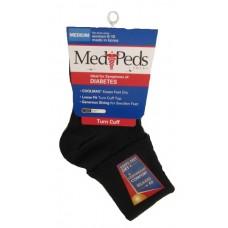 MediPeds Lightweight Turncuff, 1 Pair, Medium, Black