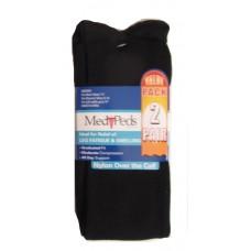 MediPeds Nylon Over the Calf, 2 Pair, Medium, Black