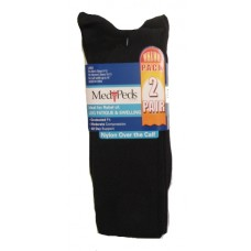 MediPeds Nylon Over the Calf, 2 Pair, Large, Black
