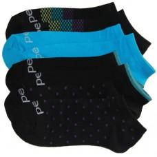 Peds Lightweight No Show Black Tips, Solids, Dots, Women Size 5-10, 4 Pair