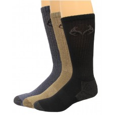 RealTree Casual Cotton Crew Socks, 3 Pair, Large (M 9-13), Assorterd
